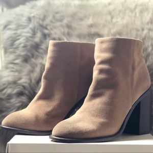 Kelsi Dagger Brooklyn Tan Suede ZIP Ankle Booties